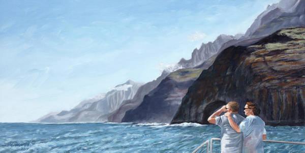 Painting - Napali Coast Cruise by Mary Giacomini