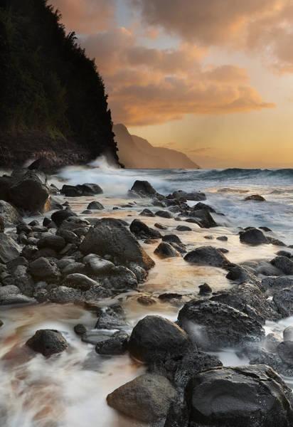 Queens Bath Photograph - Napali Dreams Kauai Beach Sunset by Sun Gallery Photography Lewis Carlyle