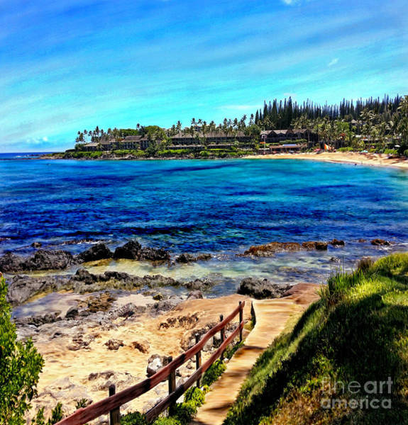 Mixed Media - Napili Beach Gazebo Walkway Shower Curtain Size by Glenn McNary