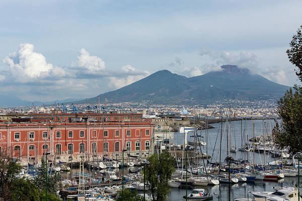 Photograph - Naples Italy Aerial Perspective - The Harbor And Mount Vesuvius by Georgia Mizuleva