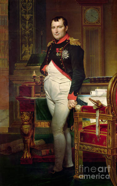 Clock Painting - Napoleon Bonaparte In His Study At The Tuileries, 1812 by Jacques Louis David