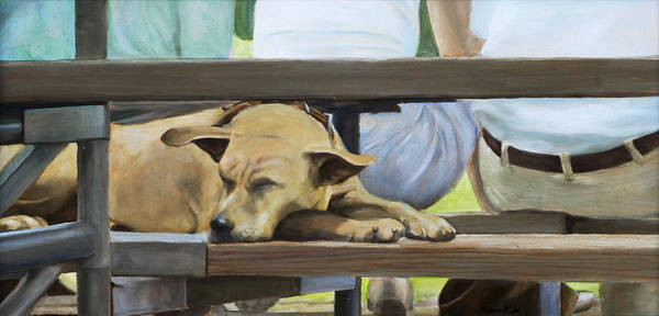 Painting - Naptime In The Bleachers by Linda Tenukas