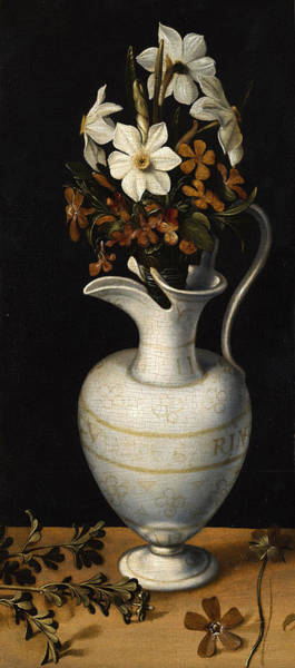 Wall Art - Painting - Narcissi, Periwinkle And Violets In A Ewer by Ludger tom Ring the Younger