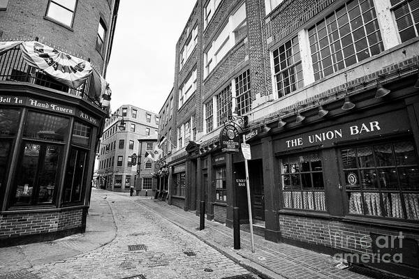 Wall Art - Photograph - Narrow Cobbled Marshall Street Between The Bell In Hand Tavern And Ye Olde Union Oyster House Origin by Joe Fox