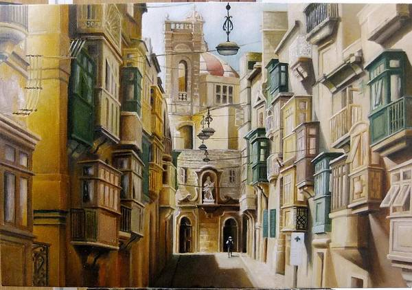 Benny Painting - Narrow Str. In Senglea by Benny Brimmer