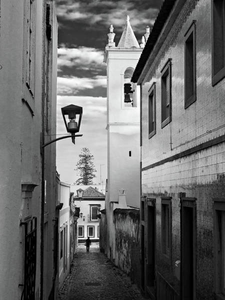 Photograph - Narrow Street And Bell Tower In Tavira - Portugal by Barry O Carroll