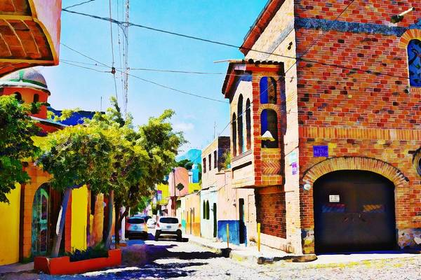 Photograph - Narrow Street In Ajijik, Mexico - Digital Paint by Tatiana Travelways