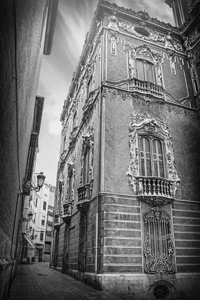 Ceramics Wall Art - Photograph - Narrow Street Valencia Spain In Black And White  by Carol Japp
