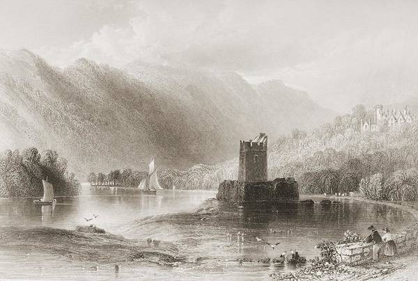 Steel Drawing - Narrow Water Castle, Carlingford Lough by Vintage Design Pics