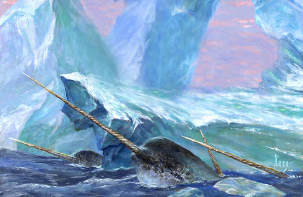 Save The Whales Wall Art - Painting - Narwhals by Richard Hescox