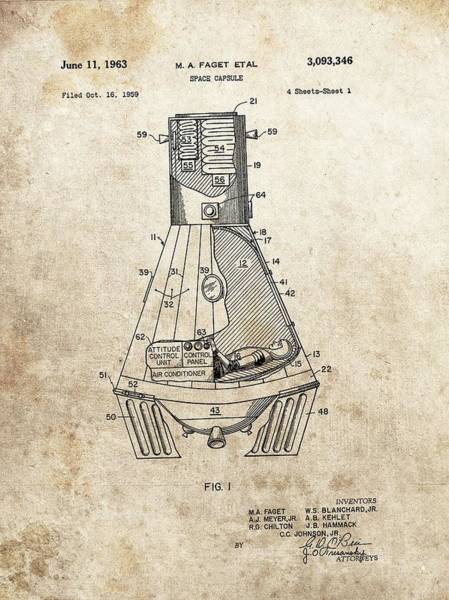 Rockets Drawing - Nasa Space Capsule Patent by Dan Sproul