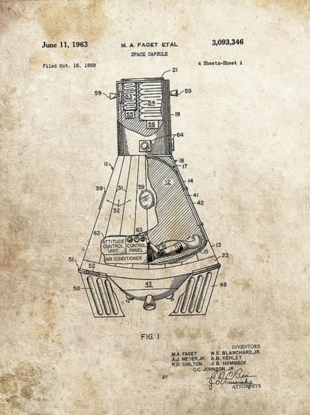 Wall Art - Drawing - Nasa Space Capsule Patent by Dan Sproul