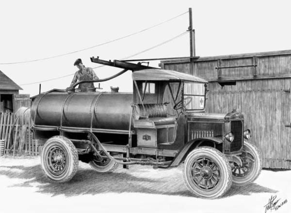 Wall Art - Drawing - Nash Water Truck by Lyle Brown