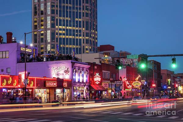 Honky Tonk Photograph - Nashville - Broadway Street by Brian Jannsen