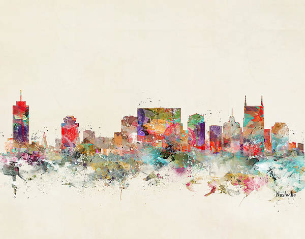 Nashville Wall Art - Painting - Nashville City Skyline by Bri Buckley