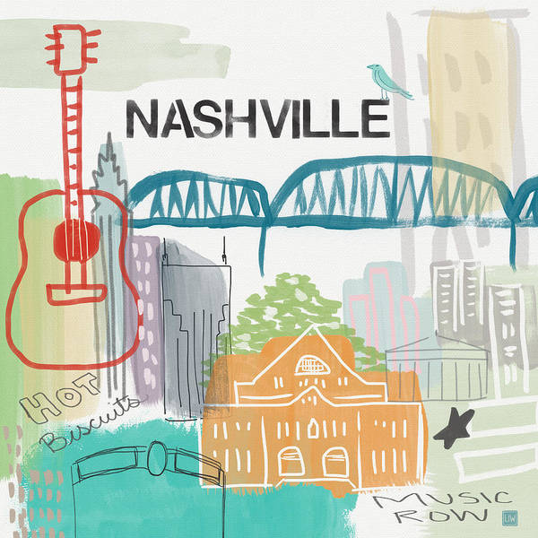 Nashville Wall Art - Painting - Nashville Cityscape- Art By Linda Woods by Linda Woods
