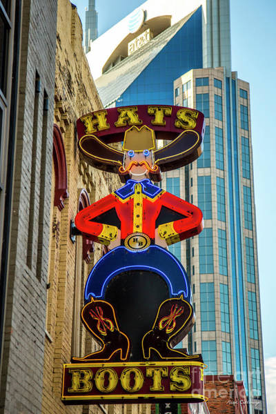 Photograph - Nashville Hats And Boots Sign Signage Art by Reid Callaway