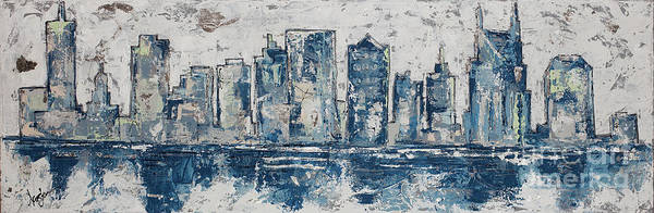 Wall Art - Painting - Nashville In Blues by Kirsten Reed