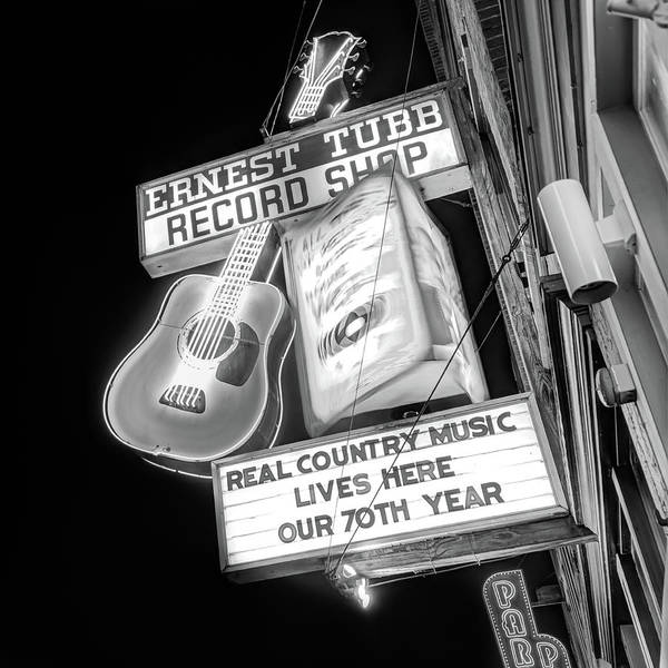 Photograph - Nashville Neon Ernest Tubb Record Shop Black And White  by Gregory Ballos