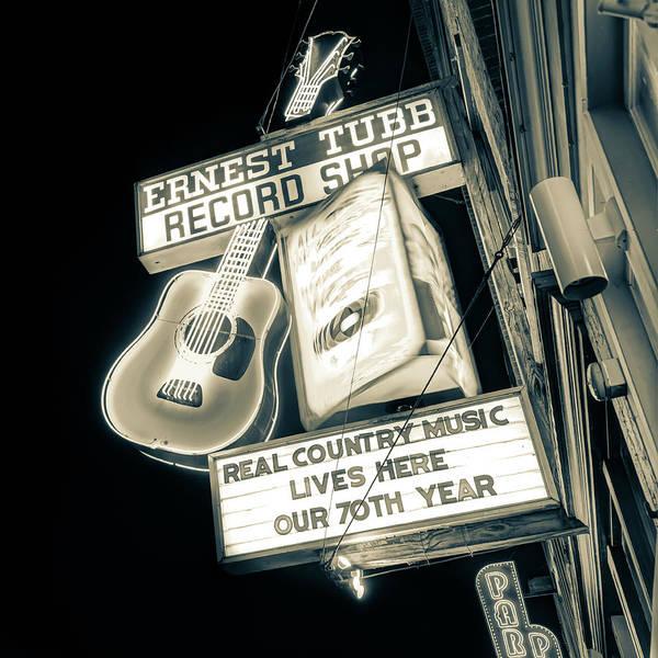 Photograph - Nashville Neon Ernest Tubb Record Shop Sepia by Gregory Ballos