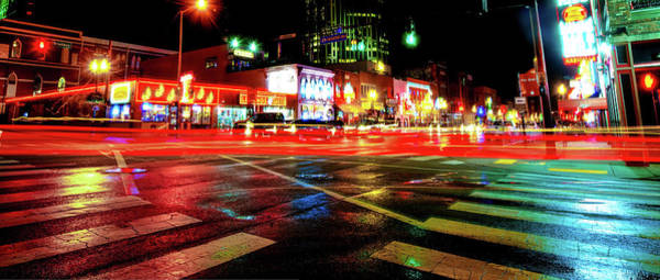 Photograph - Nashville Night Time Panoramic On Broadway by Gregory Ballos