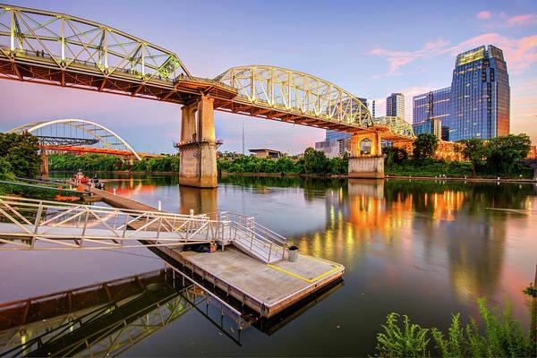 Photograph - Nashville Pedestrian And Gateway Bridge At Dusk by Gregory Ballos