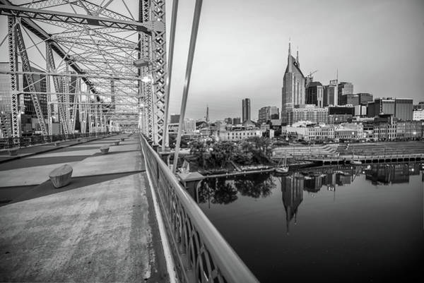 Photograph - Nashville Skyline And Pedestrian Bridge Black And White by Gregory Ballos