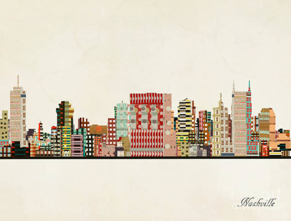 Nashville Wall Art - Painting - Nashville Skyline by Bri Buckley