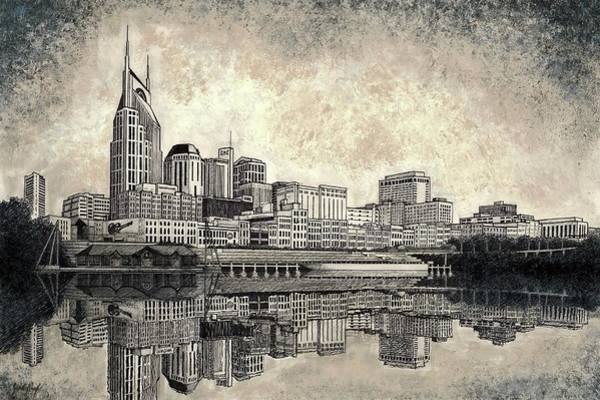 River Scene Mixed Media - Nashville Skyline II by Janet King