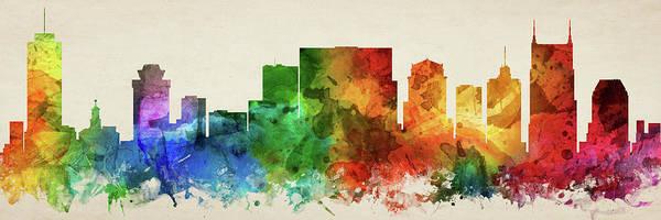 Wall Art - Digital Art - Nashville Skyline Panorama Ustnna-pa03 by Aged Pixel