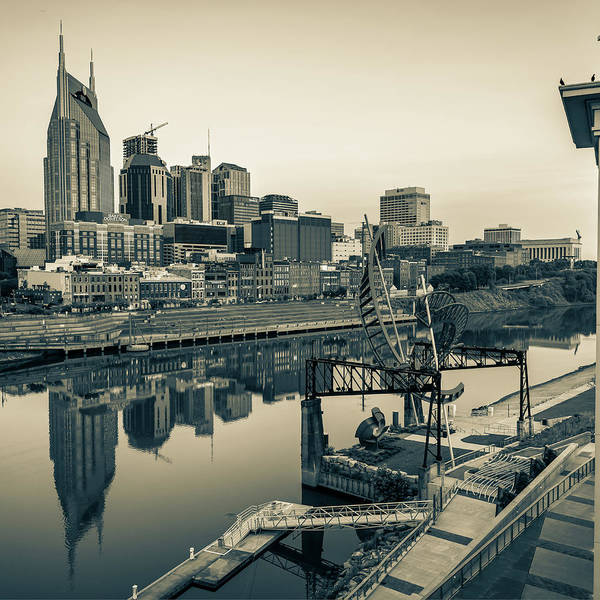 Photograph - Nashville Skyline - Square Format - Sepia by Gregory Ballos
