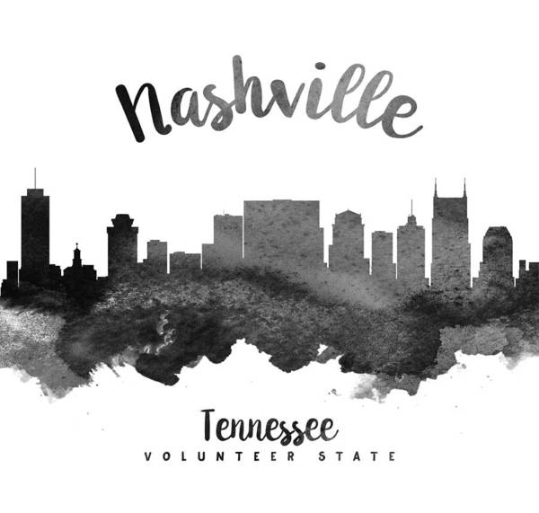 Wall Art - Painting - Nashville Tennessee Skyline 18 by Aged Pixel