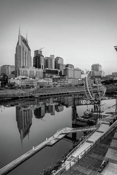Photograph - Nashville Tennessee Skyline Along The Cumberland - Black And White by Gregory Ballos