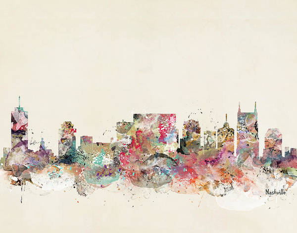Watercolour Landscape Painting - Nashville Tennessee Skyline by Bri Buckley