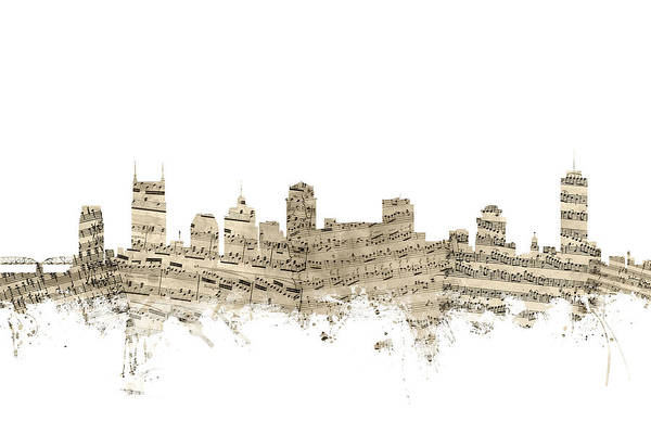 Nashville Wall Art - Digital Art - Nashville Tennessee Skyline Sheet Music by Michael Tompsett