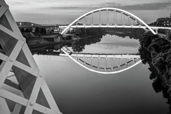 Photograph - Nashville Veterans Memorial Bridge In Black And White by Gregory Ballos