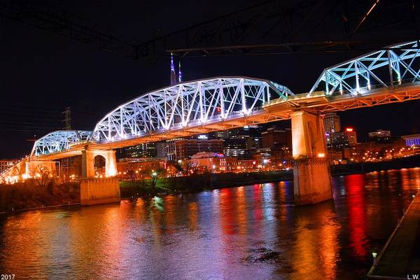 Photograph - Nashville's Pedestrian Bridge by Lisa Wooten