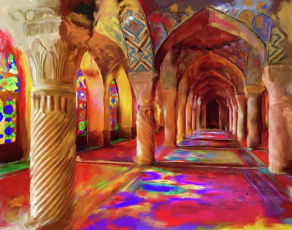 Wall Art - Painting - Nasir Ol Mulk Mosque 682 1 by Mawra Tahreem
