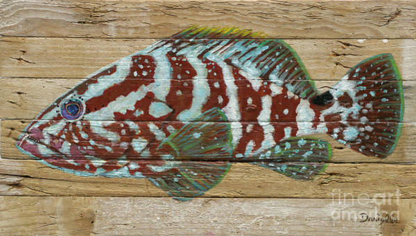 Recycle Painting - Nassau Grouper by Danielle Perry