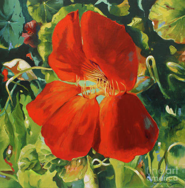 Norsk Painting - Nasturtium by Lin Petershagen
