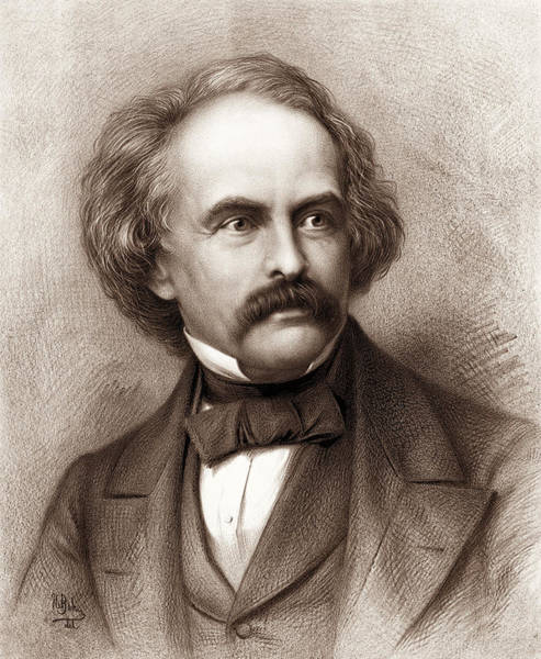 Wall Art - Drawing - Nathaniel Hawthorne - American Novelist by War Is Hell Store