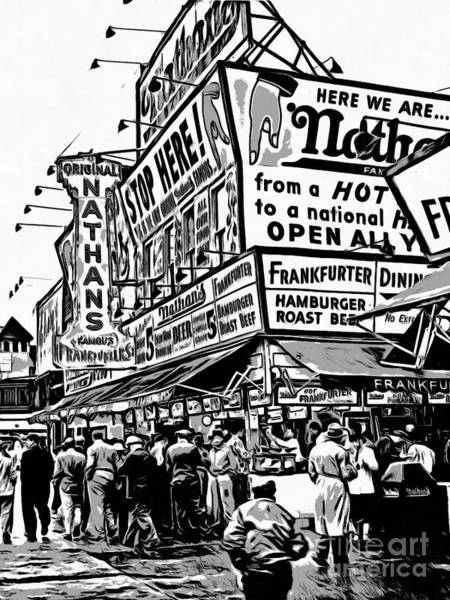 Painting - Nathans Famous Frankfurter Stand Coney Island 2 by Edward Fielding