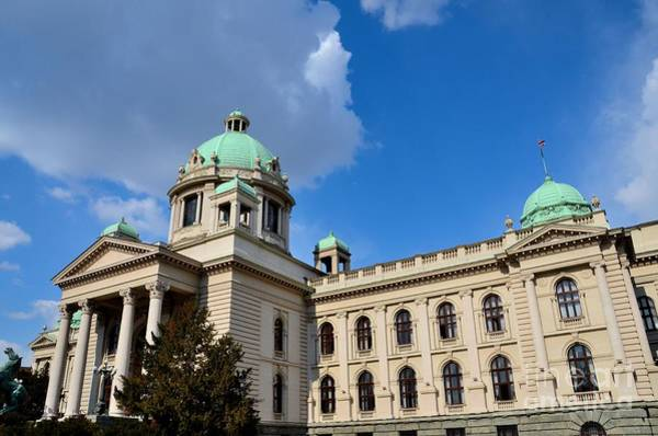 Photograph - National Assembly Parliament Building With Domes And Horse Sculpture Belgrade Serbia  by Imran Ahmed