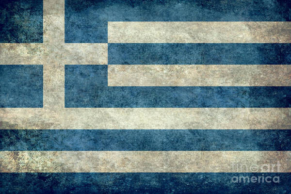 Wall Art - Digital Art - National Flag Of Greece With Worn Weathered Distressed Treatment by Bruce Stanfield