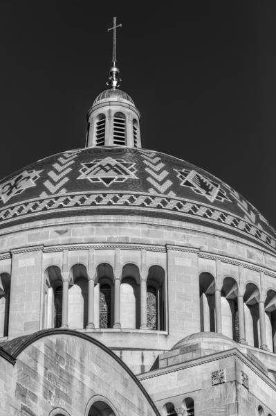 Photograph - National Shrine Dome Bw by Susan Candelario