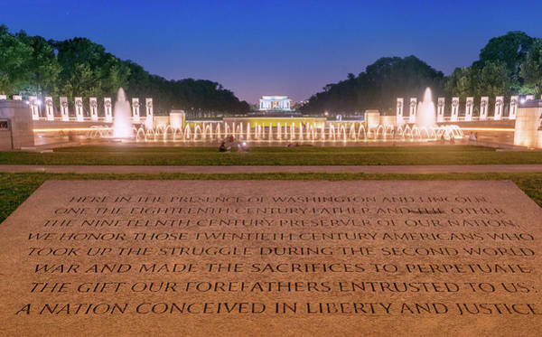 Photograph - National World War 2 And Lincoln Memorial by Rima Biswas