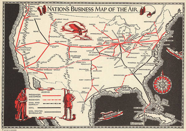 Business Mixed Media - Nations Business Map Of The Air - North America - Air Routes - Vintage Illustrated Map by Studio Grafiikka
