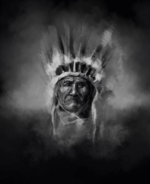 Native Headdress Painting - Nativ American Chief-geronimo by Bekim M