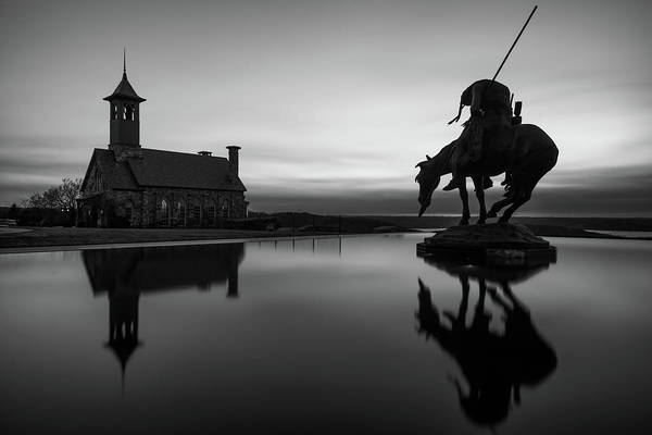 Photograph - Native American Art Reflection - Top Of The Rock - Black And White by Gregory Ballos