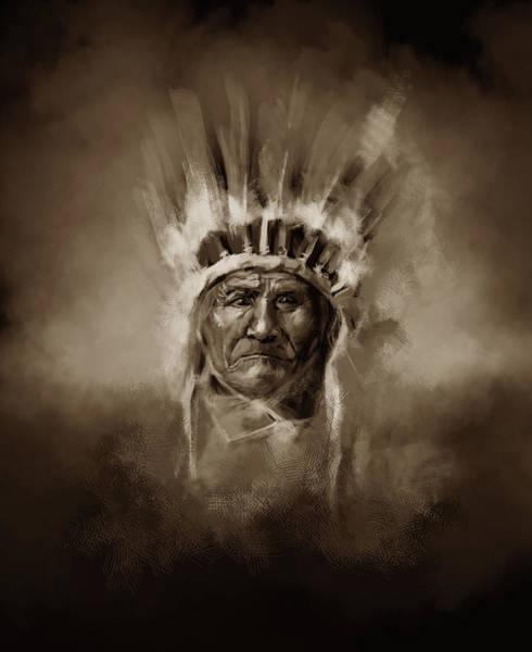 Native Headdress Painting - Native American Chief-geronimo 3 by Bekim M